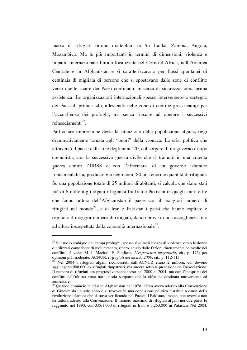 Anteprima della tesi: Rifugiati e richiedenti asilo in Italia: situazione normativa e fenomeno sociale, Pagina 13