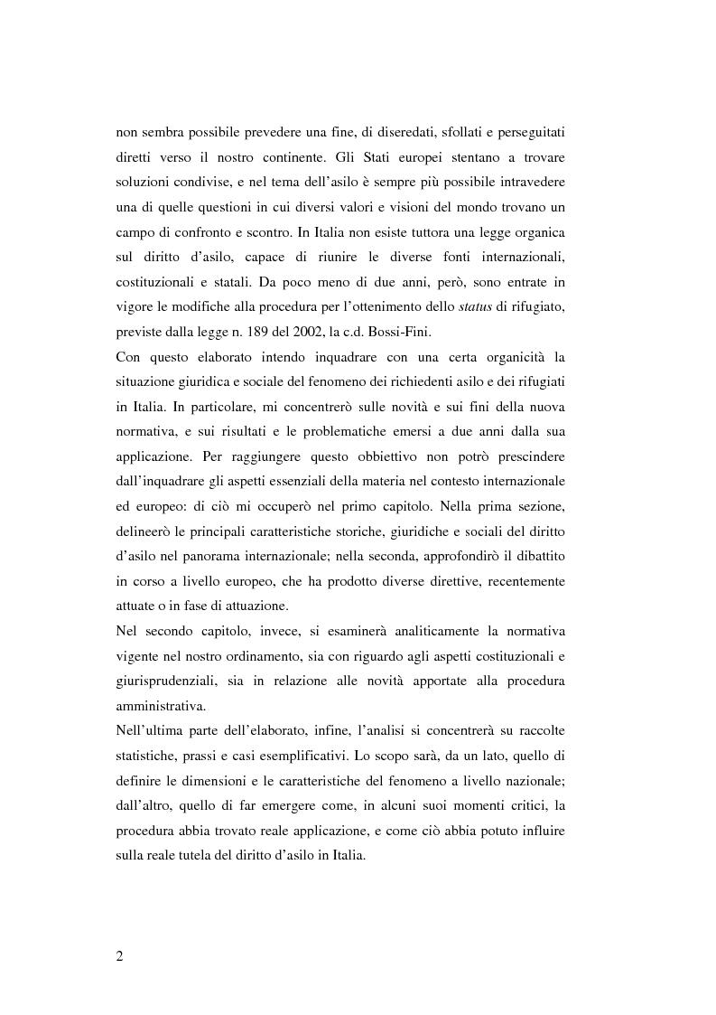 Anteprima della tesi: Rifugiati e richiedenti asilo in Italia: situazione normativa e fenomeno sociale, Pagina 2