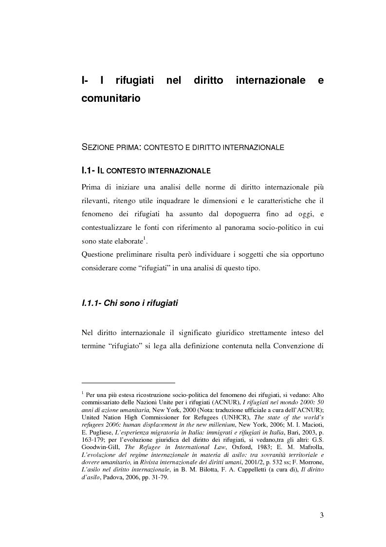 Anteprima della tesi: Rifugiati e richiedenti asilo in Italia: situazione normativa e fenomeno sociale, Pagina 3