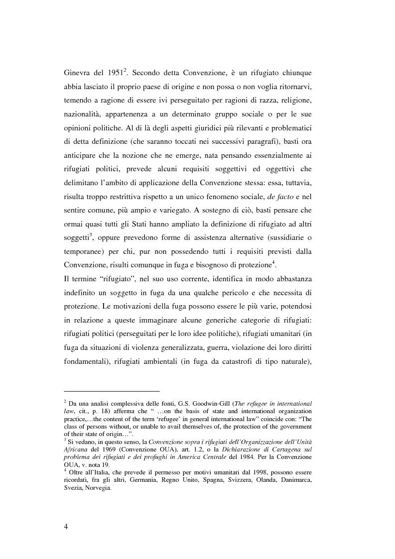 Anteprima della tesi: Rifugiati e richiedenti asilo in Italia: situazione normativa e fenomeno sociale, Pagina 4
