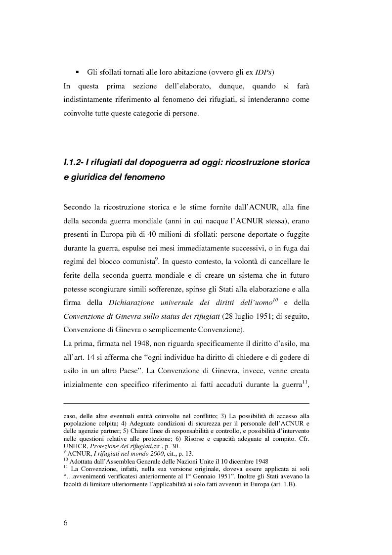 Anteprima della tesi: Rifugiati e richiedenti asilo in Italia: situazione normativa e fenomeno sociale, Pagina 6