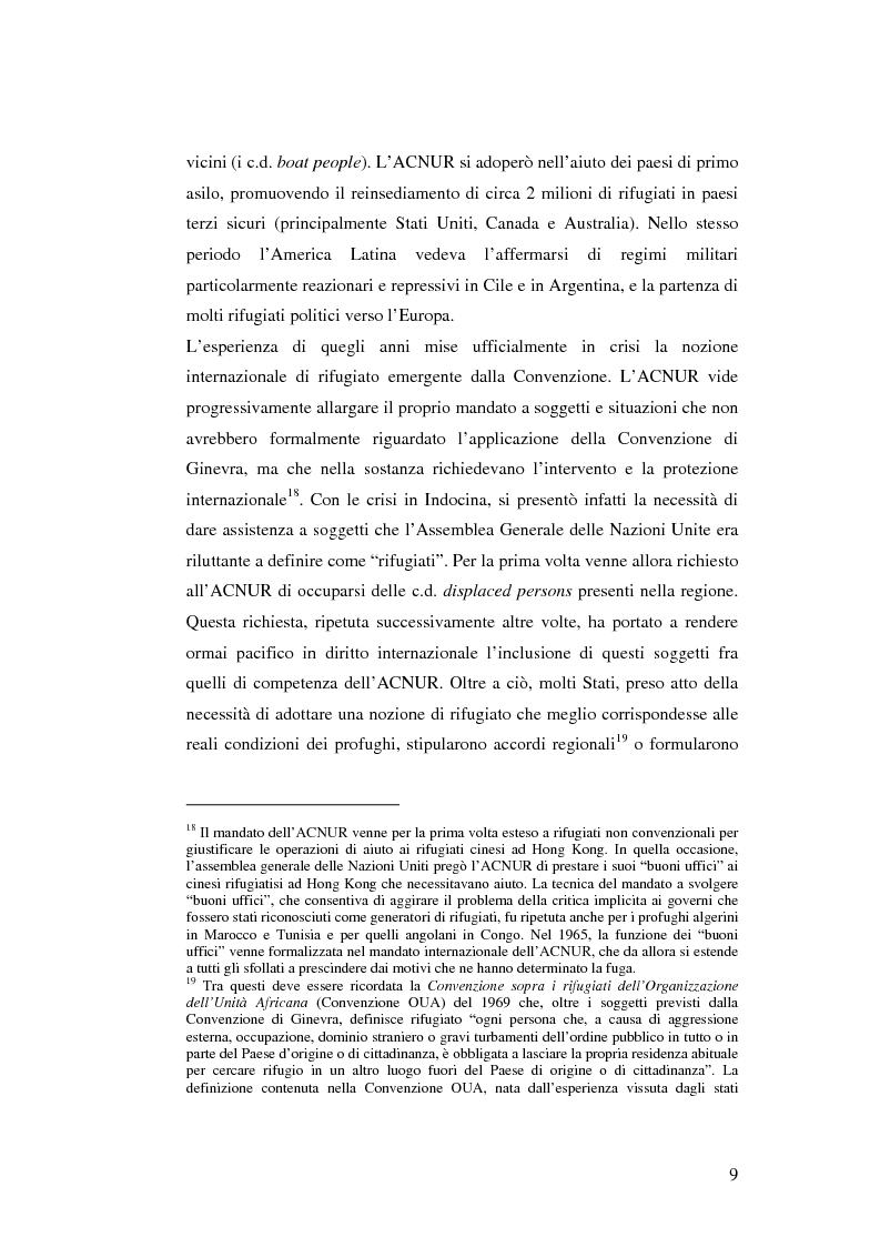 Anteprima della tesi: Rifugiati e richiedenti asilo in Italia: situazione normativa e fenomeno sociale, Pagina 9