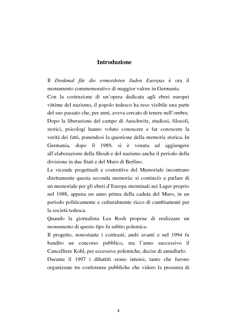 Anteprima della tesi: Il memoriale per lo sterminio degli ebrei d'Europa a Berlino. Progetti e polemiche 1994-2006, Pagina 1