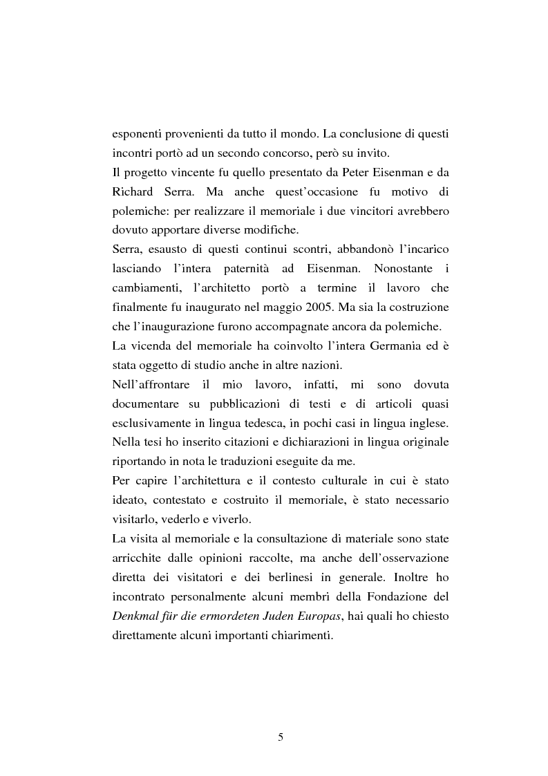 Anteprima della tesi: Il memoriale per lo sterminio degli ebrei d'Europa a Berlino. Progetti e polemiche 1994-2006, Pagina 2