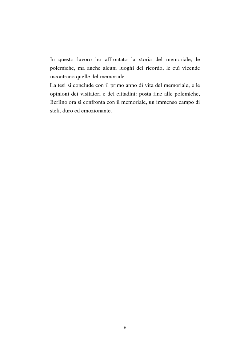 Anteprima della tesi: Il memoriale per lo sterminio degli ebrei d'Europa a Berlino. Progetti e polemiche 1994-2006, Pagina 3