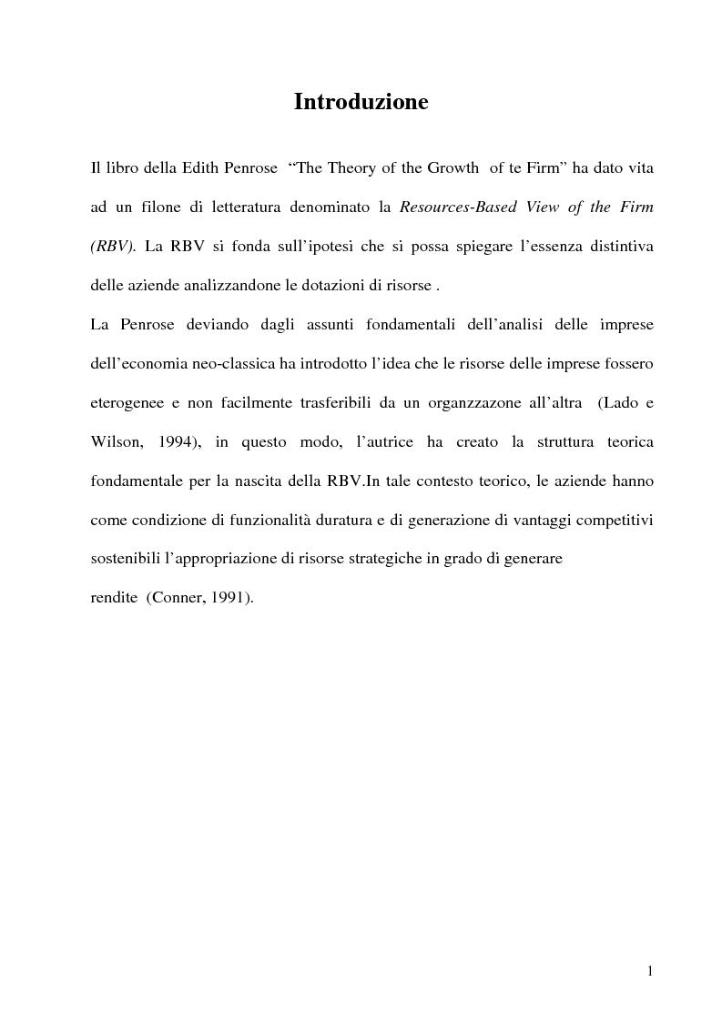 Anteprima della tesi: La combinazione delle risorse per il vantaggio competitivo, Pagina 1