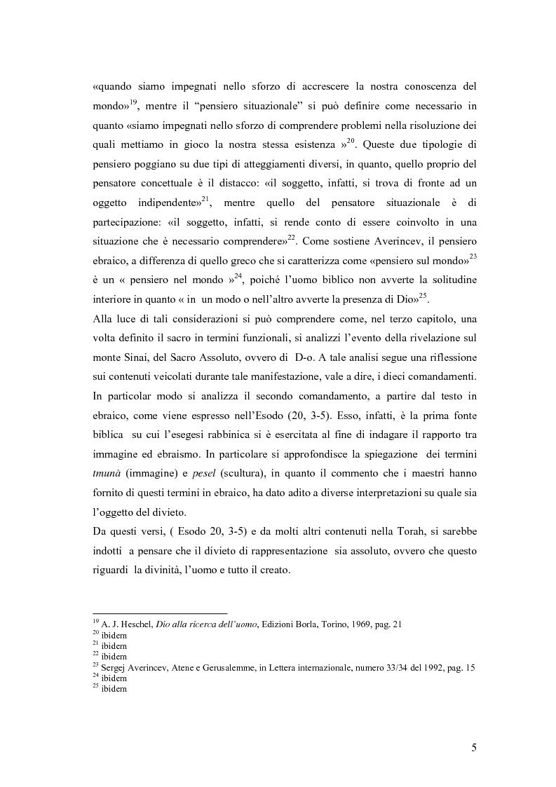 Anteprima della tesi: Il divieto di rappresentazione nell'ebraismo, Pagina 5