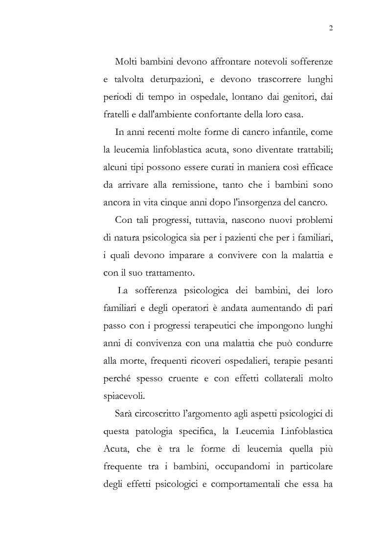 Anteprima della tesi: Aspetti psicologici della leucemia infantile, Pagina 2