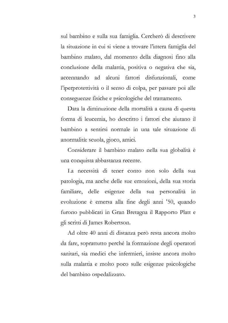 Anteprima della tesi: Aspetti psicologici della leucemia infantile, Pagina 3