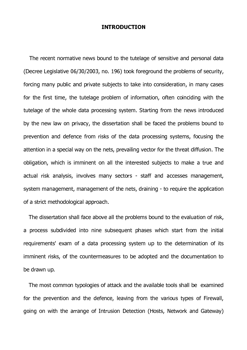 Anteprima della tesi: Preventing and defensive tools of data processing system, Pagina 1