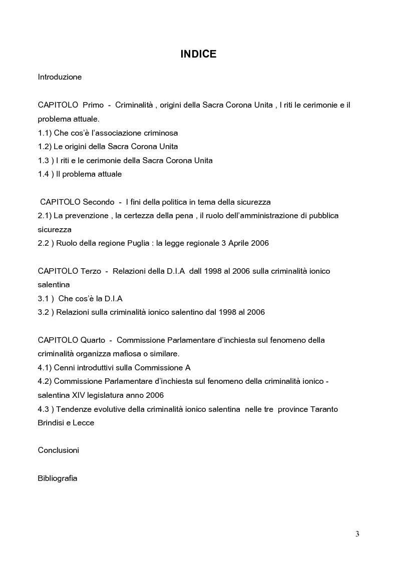 Indice della tesi: Politica della Sicurezza: Lotta alla criminalità Ionico Salentina, Pagina 1
