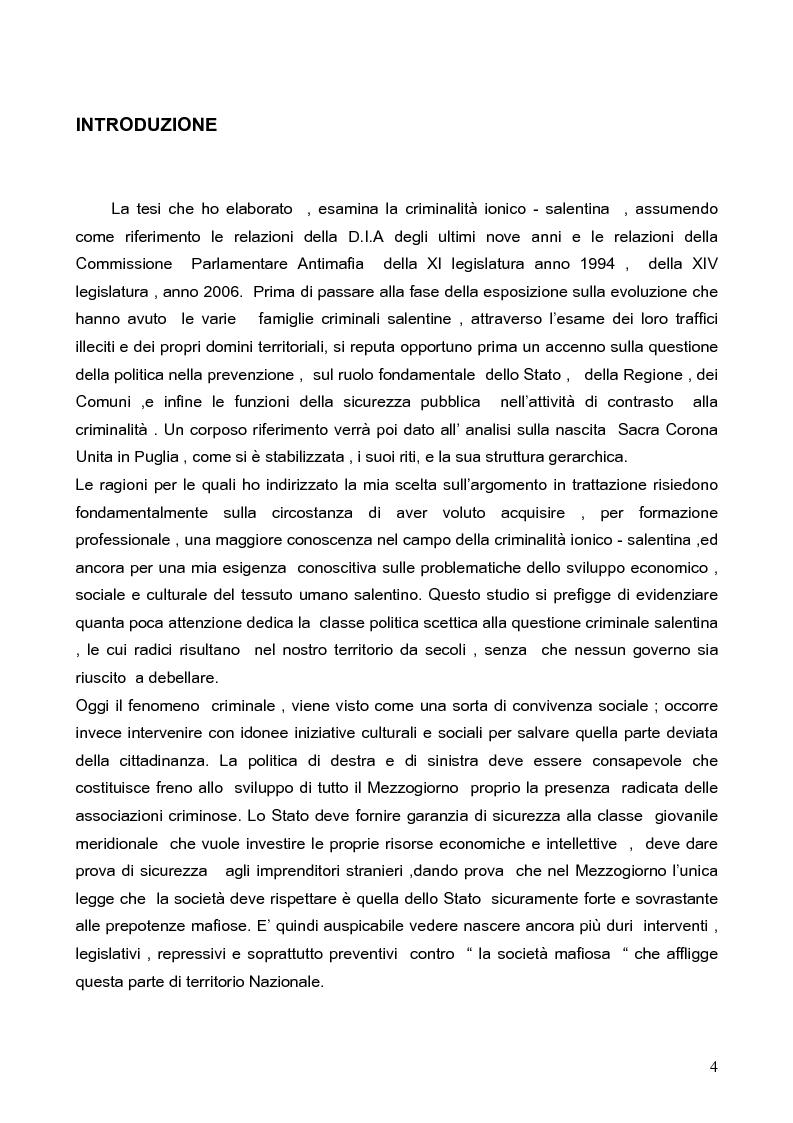 Anteprima della tesi: Politica della Sicurezza: Lotta alla criminalità Ionico Salentina, Pagina 1