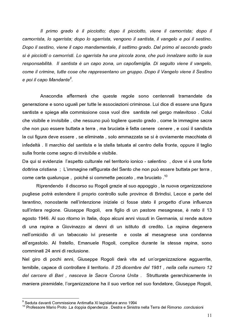 Anteprima della tesi: Politica della Sicurezza: Lotta alla criminalità Ionico Salentina, Pagina 8