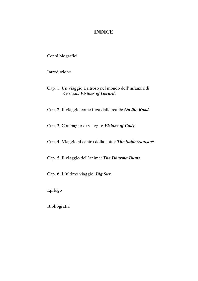 Indice della tesi: Il viaggio autobiografico di Jack Kerouac, Pagina 1