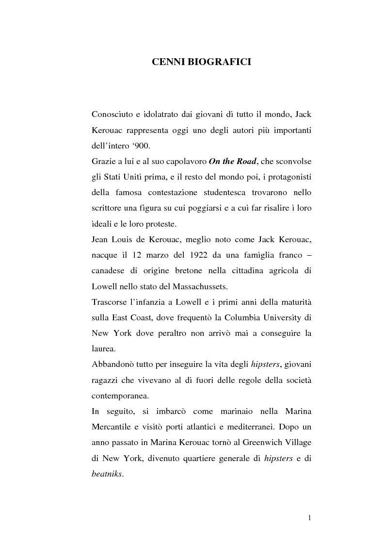Anteprima della tesi: Il viaggio autobiografico di Jack Kerouac, Pagina 1