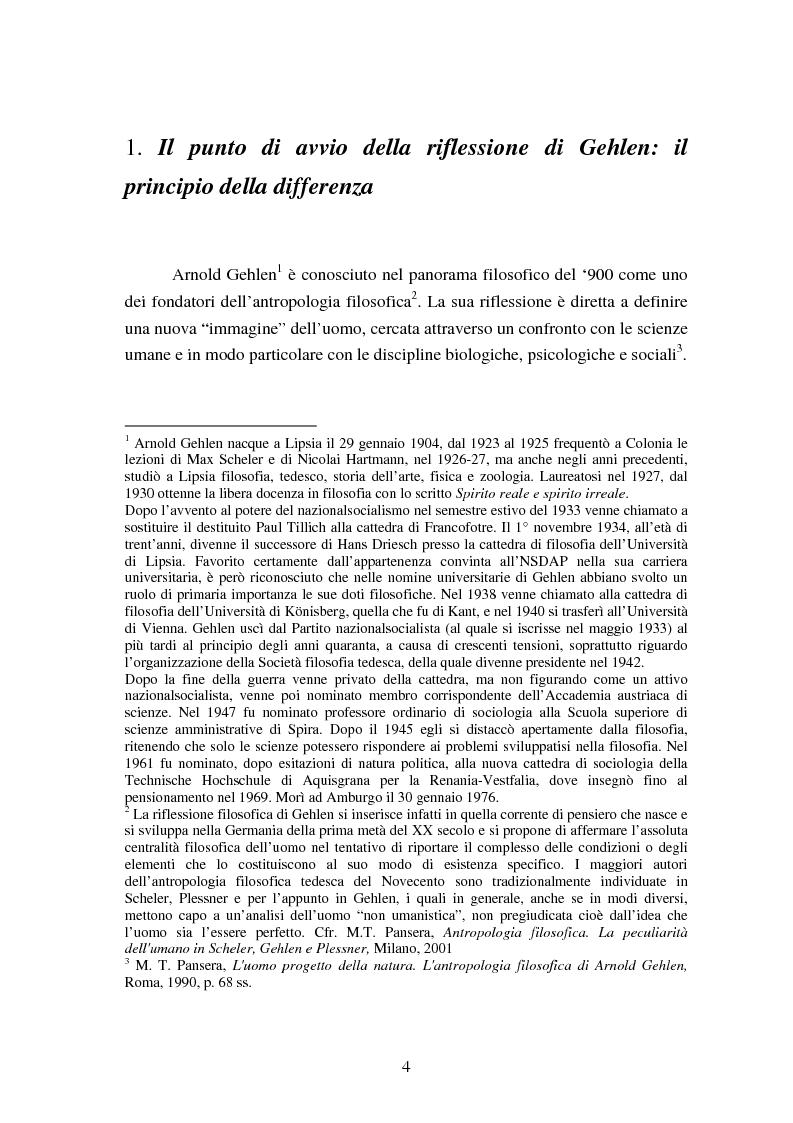 Anteprima della tesi: L' Antropologia Filosofica di A. Gehlen, Pagina 2