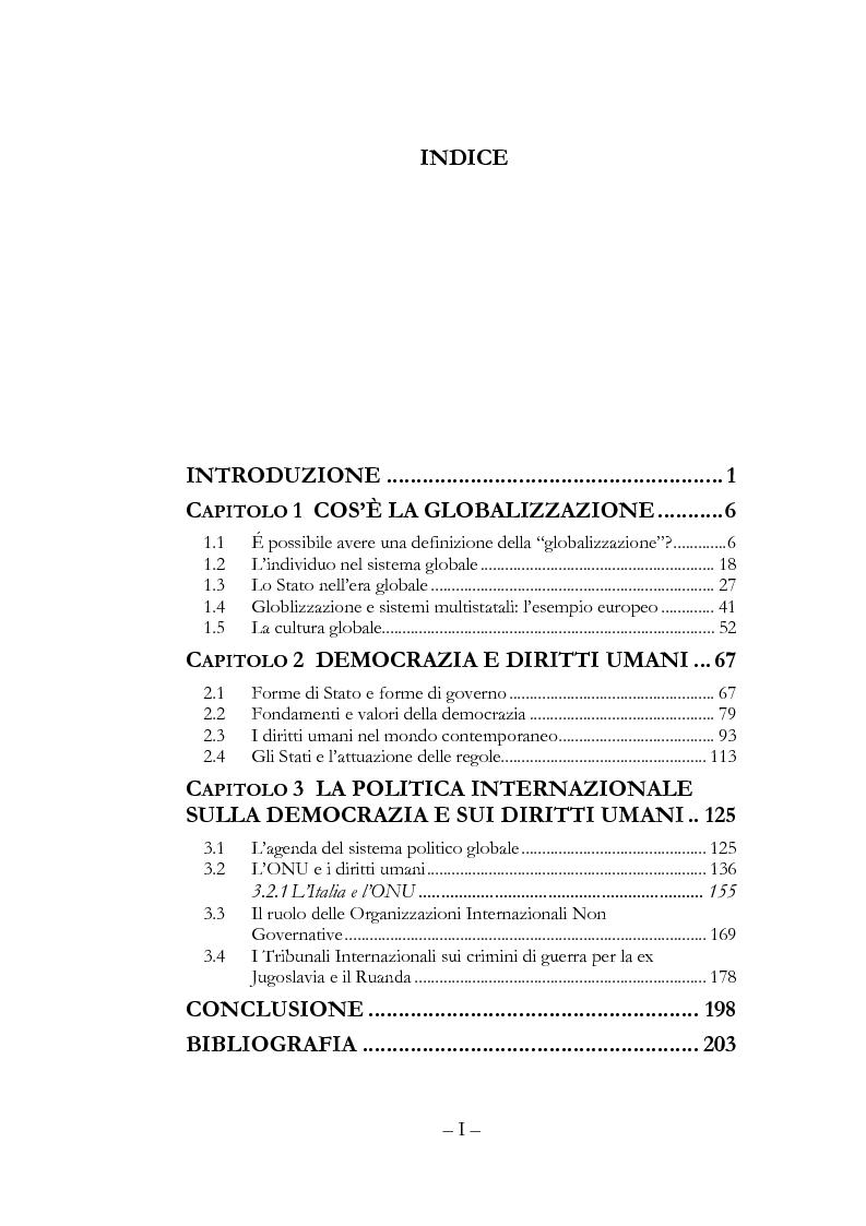 Indice della tesi: Globalizzazione, democrazia e diritti umani, Pagina 1