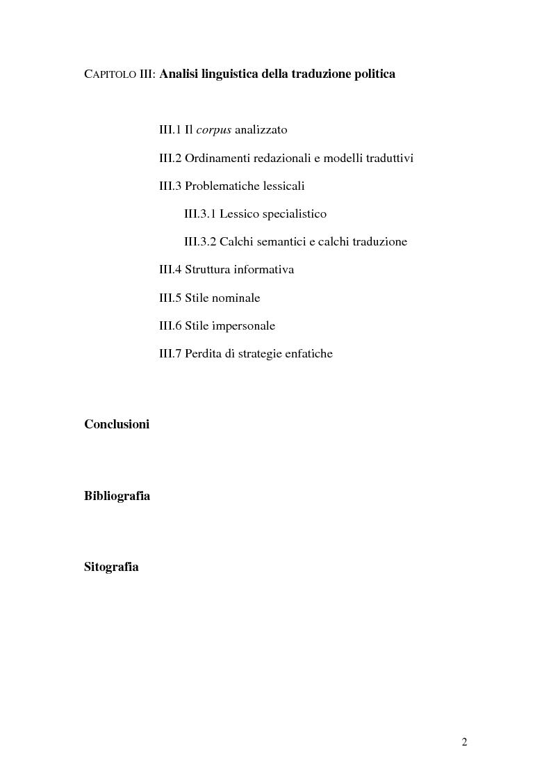 Indice della tesi: La traduzione del discorso politico dallo spagnolo all'italiano nel Parlamento Europeo, Pagina 2