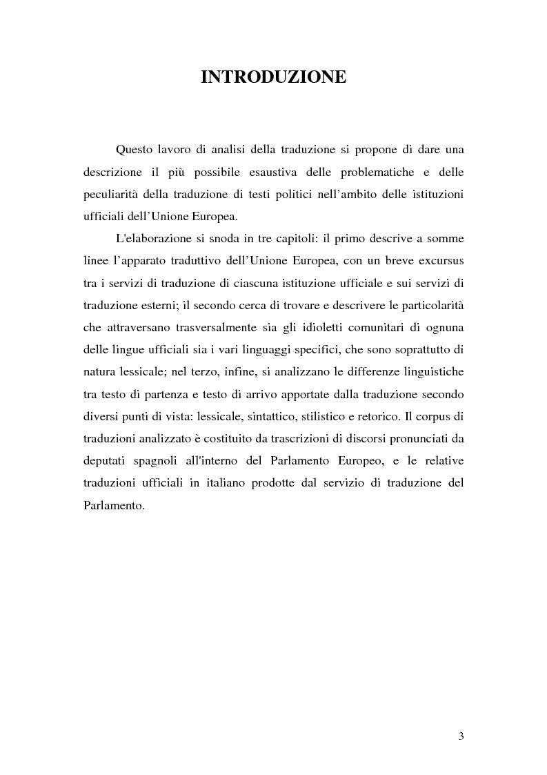Anteprima della tesi: La traduzione del discorso politico dallo spagnolo all'italiano nel Parlamento Europeo, Pagina 1