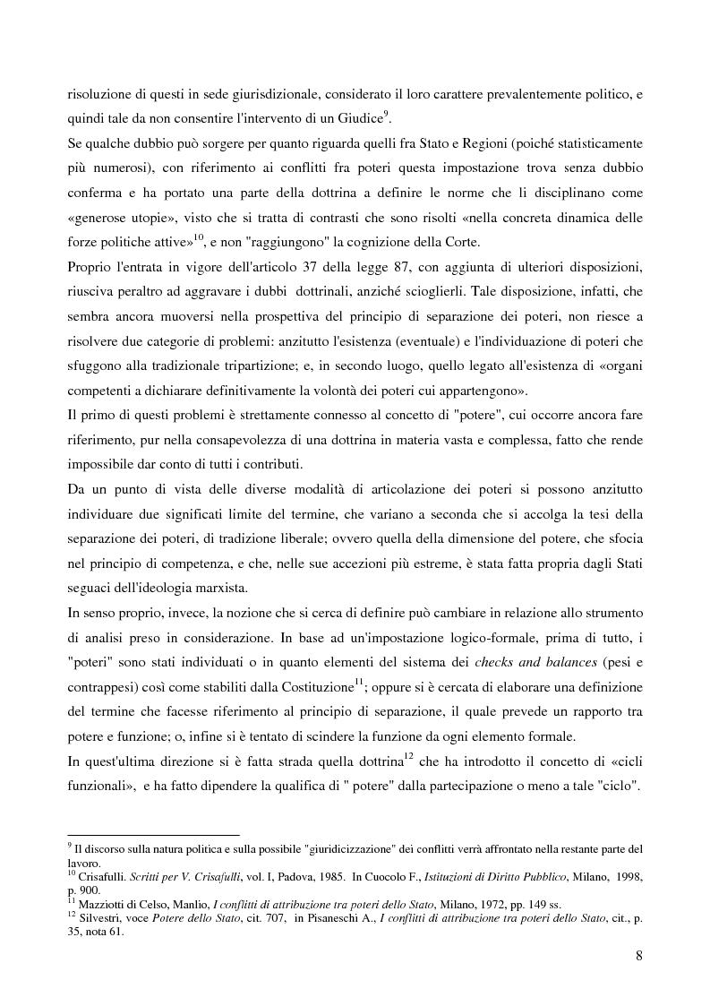 Anteprima della tesi: Il potere di sollevare un conflitto interorganico come potere esauribile ''uno actu''. Il caso della sentenza n°116 del 2003 della corte costituzionale, Pagina 6