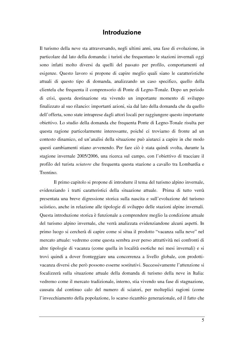 Anteprima della tesi: Il turista della neve a Ponte di Legno-Tonale: profili e comportamento da un'indagine diretta, Pagina 1