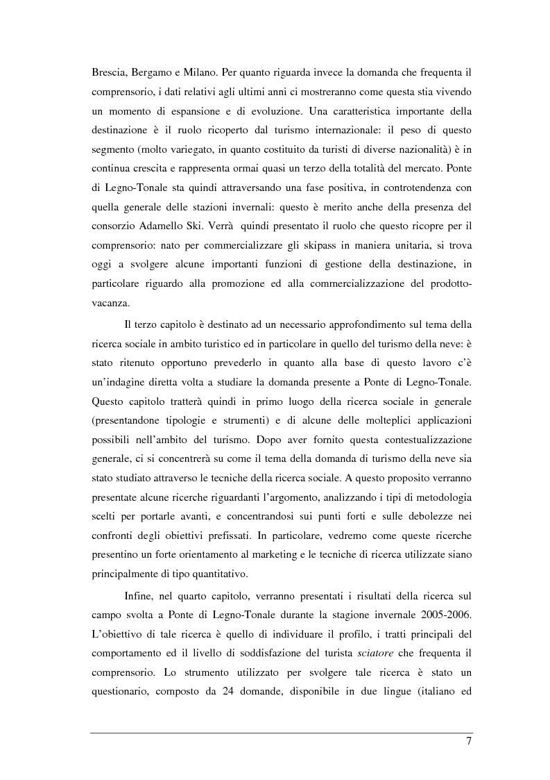Anteprima della tesi: Il turista della neve a Ponte di Legno-Tonale: profili e comportamento da un'indagine diretta, Pagina 3