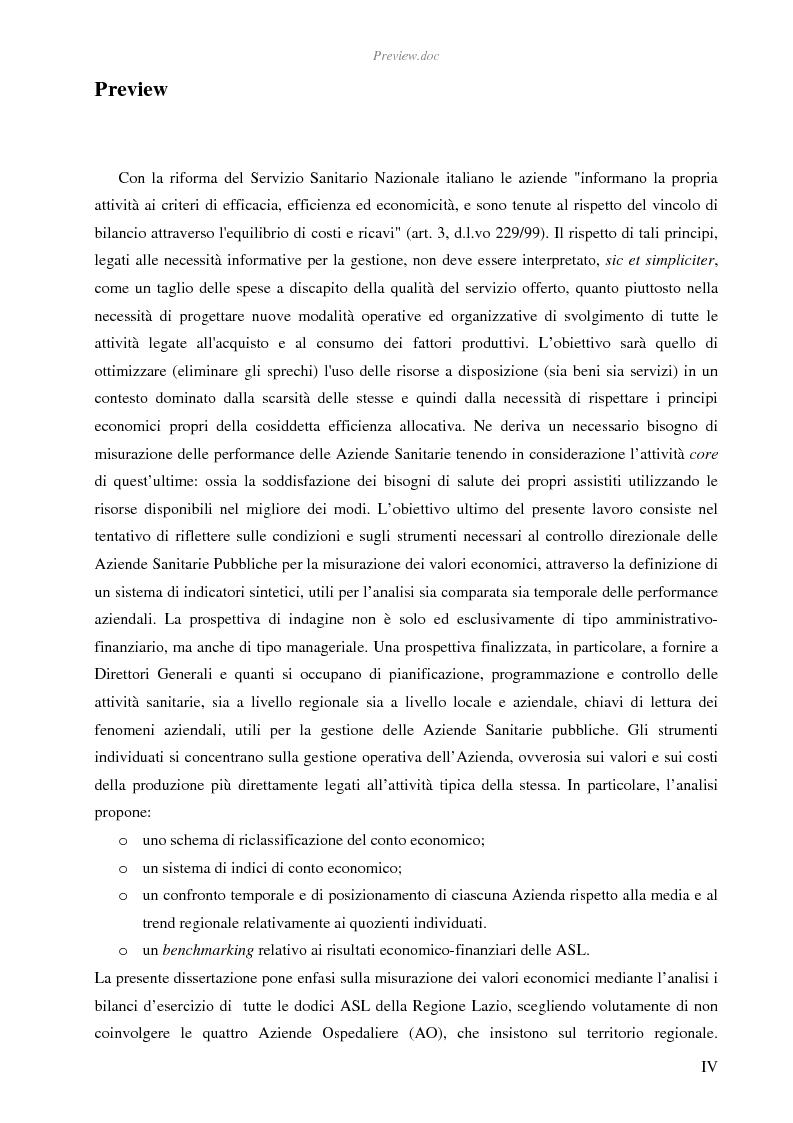 Anteprima della tesi: Strumenti a supporto del controllo direzionale nelle aziende sanitarie pubbliche: l'analisi per indici delle Asl della Regione Lazio 2001-04, Pagina 1