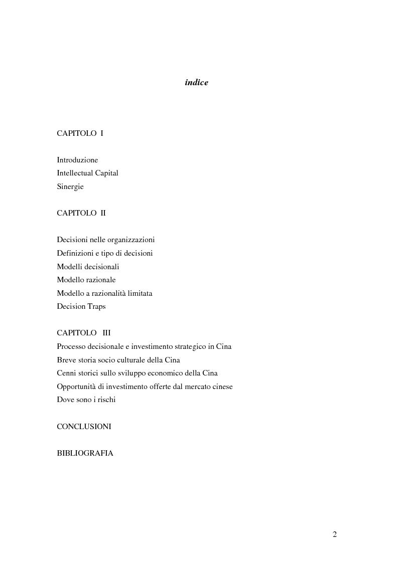Indice della tesi: Intellectual capital applicato ai processi decisionali di investimento in Cina, Pagina 1