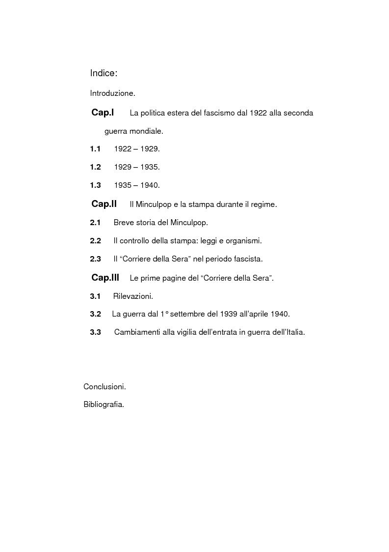 Indice della tesi: La seconda guerra mondiale nelle prime pagine del Corriere della Sera, Pagina 1