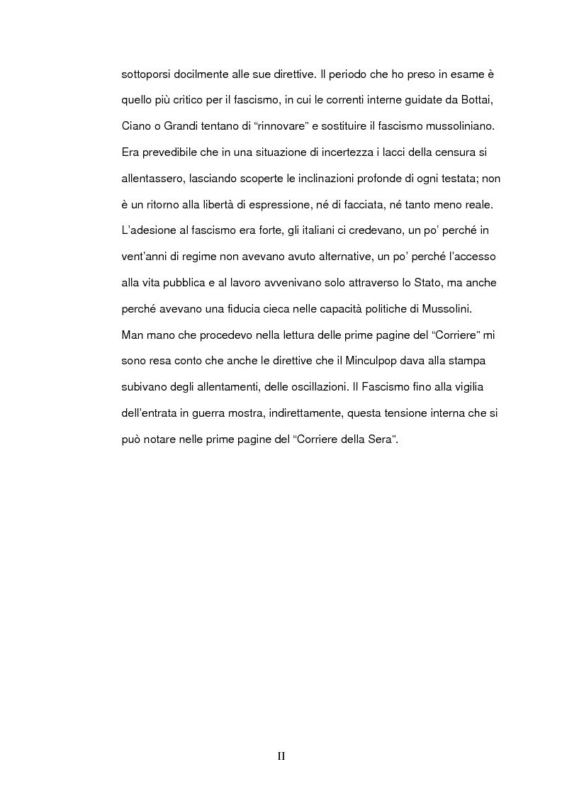 Anteprima della tesi: La seconda guerra mondiale nelle prime pagine del Corriere della Sera, Pagina 2