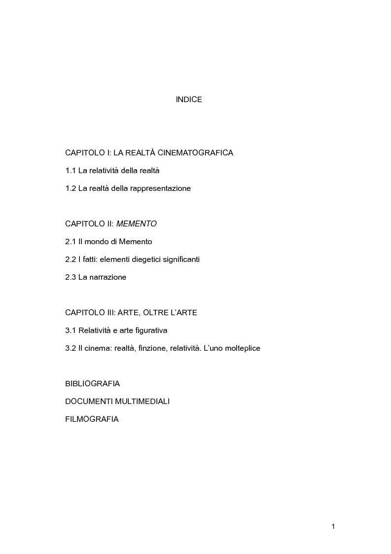 Indice della tesi: Cinema e relatività: il caso di Memento, Pagina 1