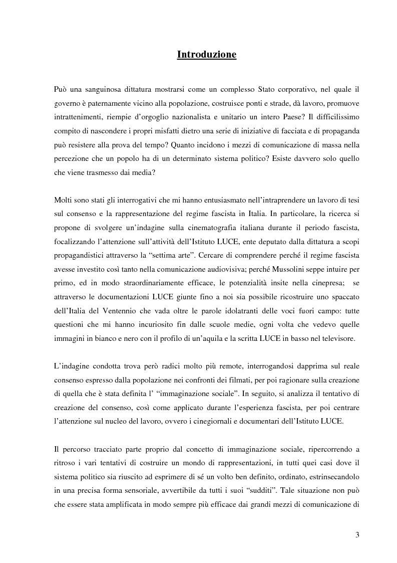 Anteprima della tesi: Cinegiornali dell'Istituto LUCE: linguaggio, propaganda e consenso nell'Italia fascista, Pagina 1