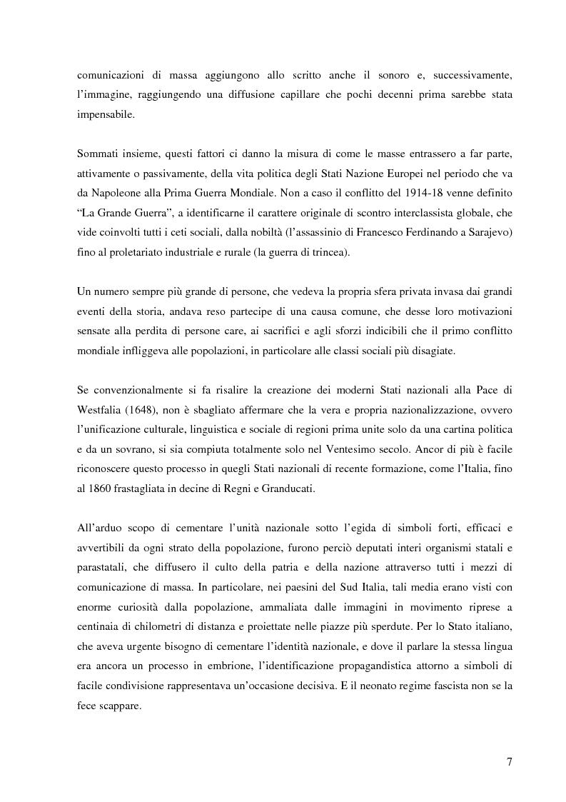 Anteprima della tesi: Cinegiornali dell'Istituto LUCE: linguaggio, propaganda e consenso nell'Italia fascista, Pagina 5