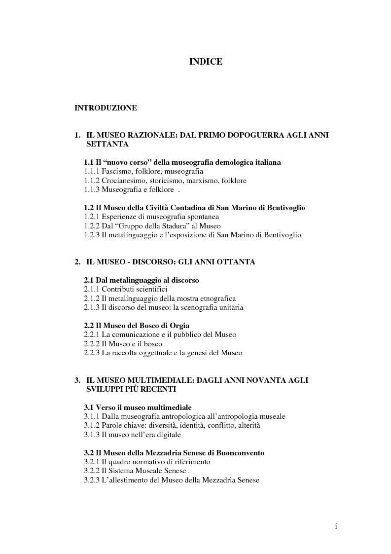 Indice della tesi: I percorsi del museo. Orientamenti della museografia demologica in Italia, Pagina 1
