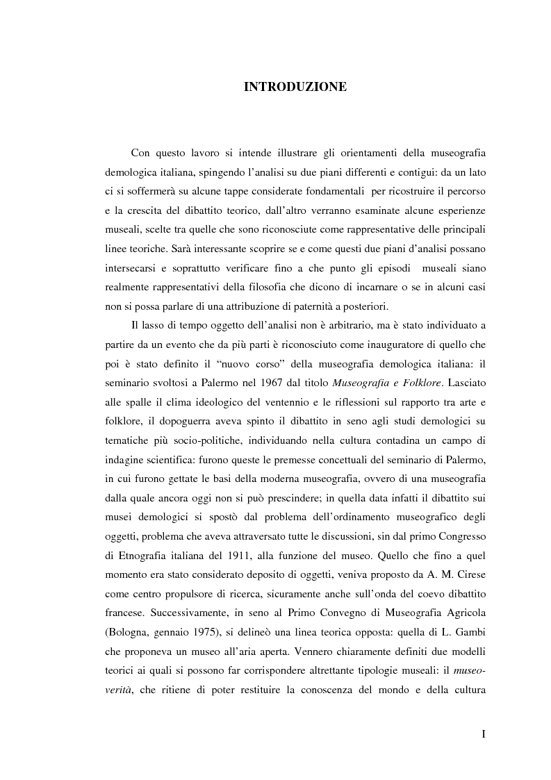 Anteprima della tesi: I percorsi del museo. Orientamenti della museografia demologica in Italia, Pagina 1