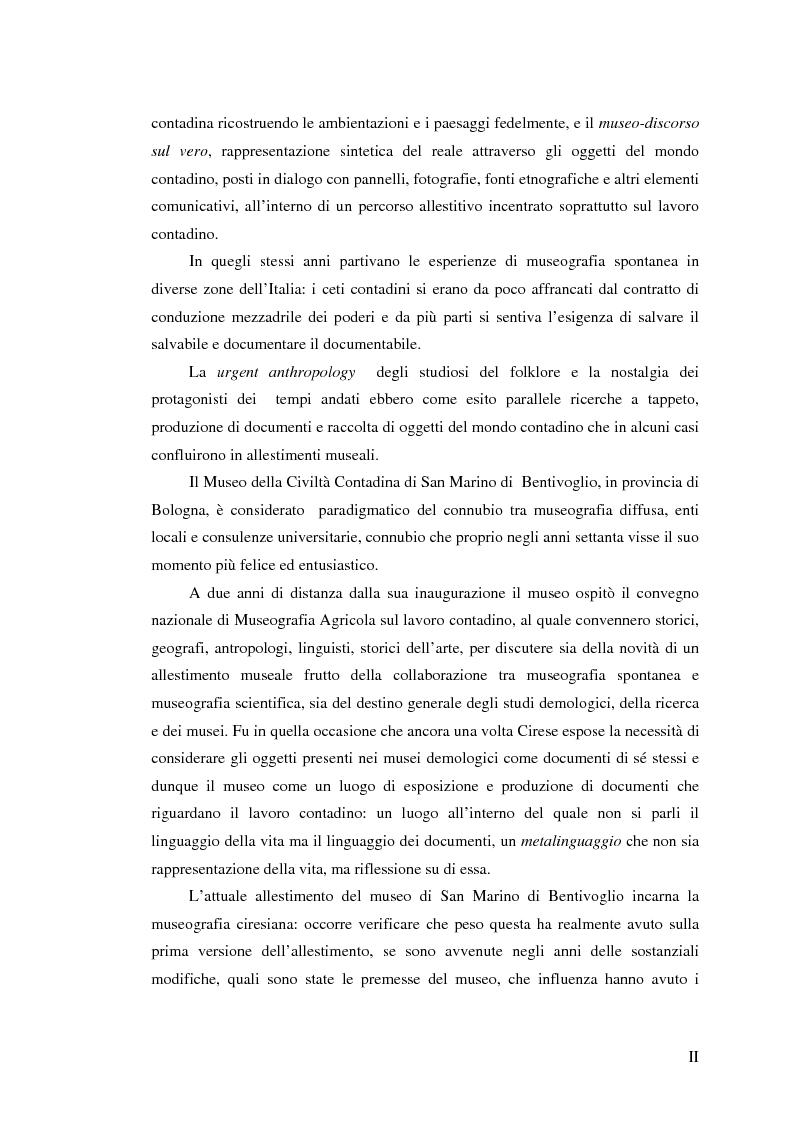 Anteprima della tesi: I percorsi del museo. Orientamenti della museografia demologica in Italia, Pagina 2