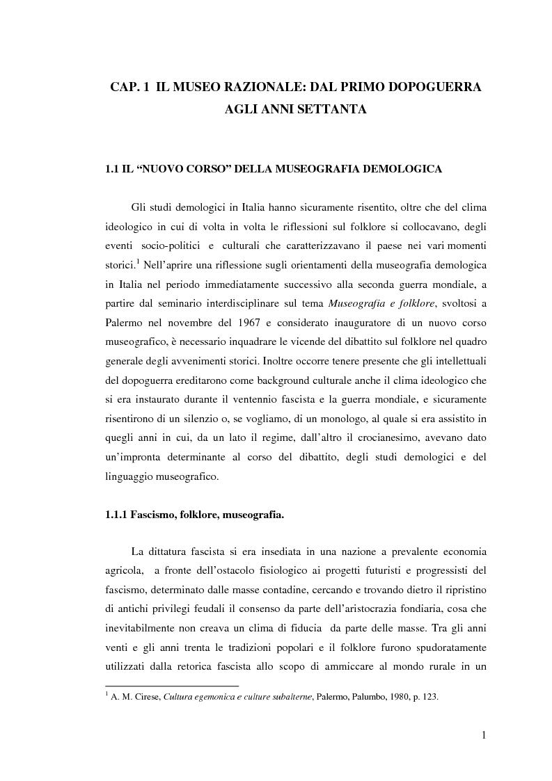 Anteprima della tesi: I percorsi del museo. Orientamenti della museografia demologica in Italia, Pagina 6