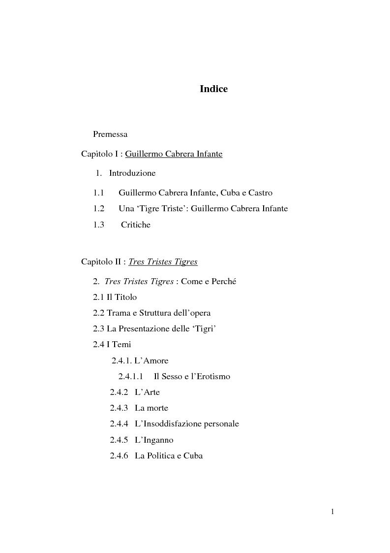 Indice della tesi: Tres Tristes Tigres di Guillermo Cabrera Infante: un'opera singolare della narrativa ispano-americana, Pagina 1
