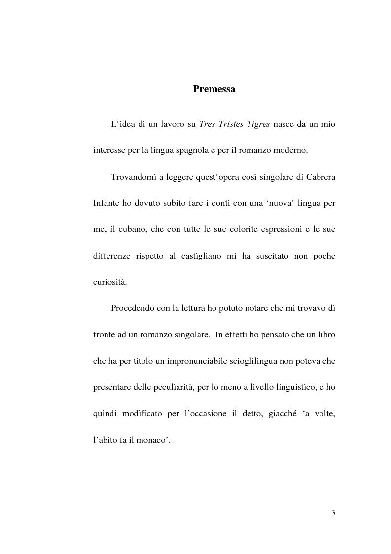 Anteprima della tesi: Tres Tristes Tigres di Guillermo Cabrera Infante: un'opera singolare della narrativa ispano-americana, Pagina 1
