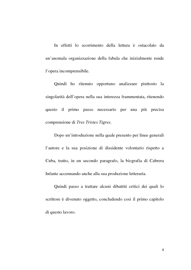 Anteprima della tesi: Tres Tristes Tigres di Guillermo Cabrera Infante: un'opera singolare della narrativa ispano-americana, Pagina 2