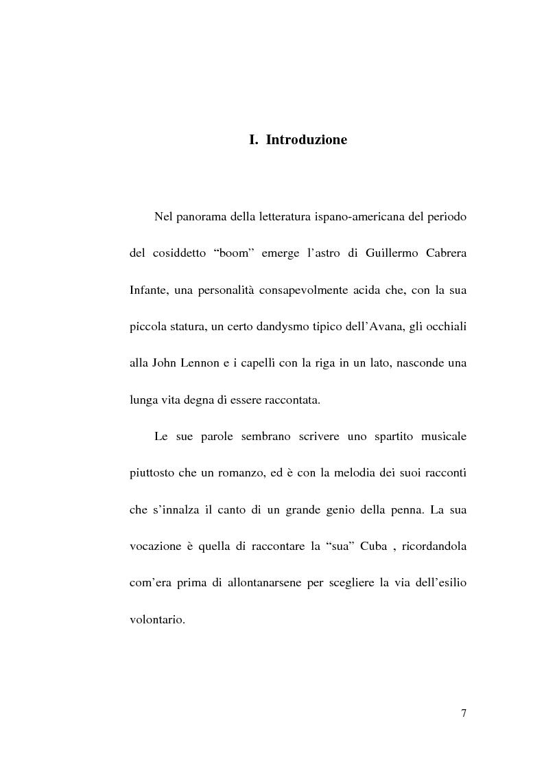Anteprima della tesi: Tres Tristes Tigres di Guillermo Cabrera Infante: un'opera singolare della narrativa ispano-americana, Pagina 5