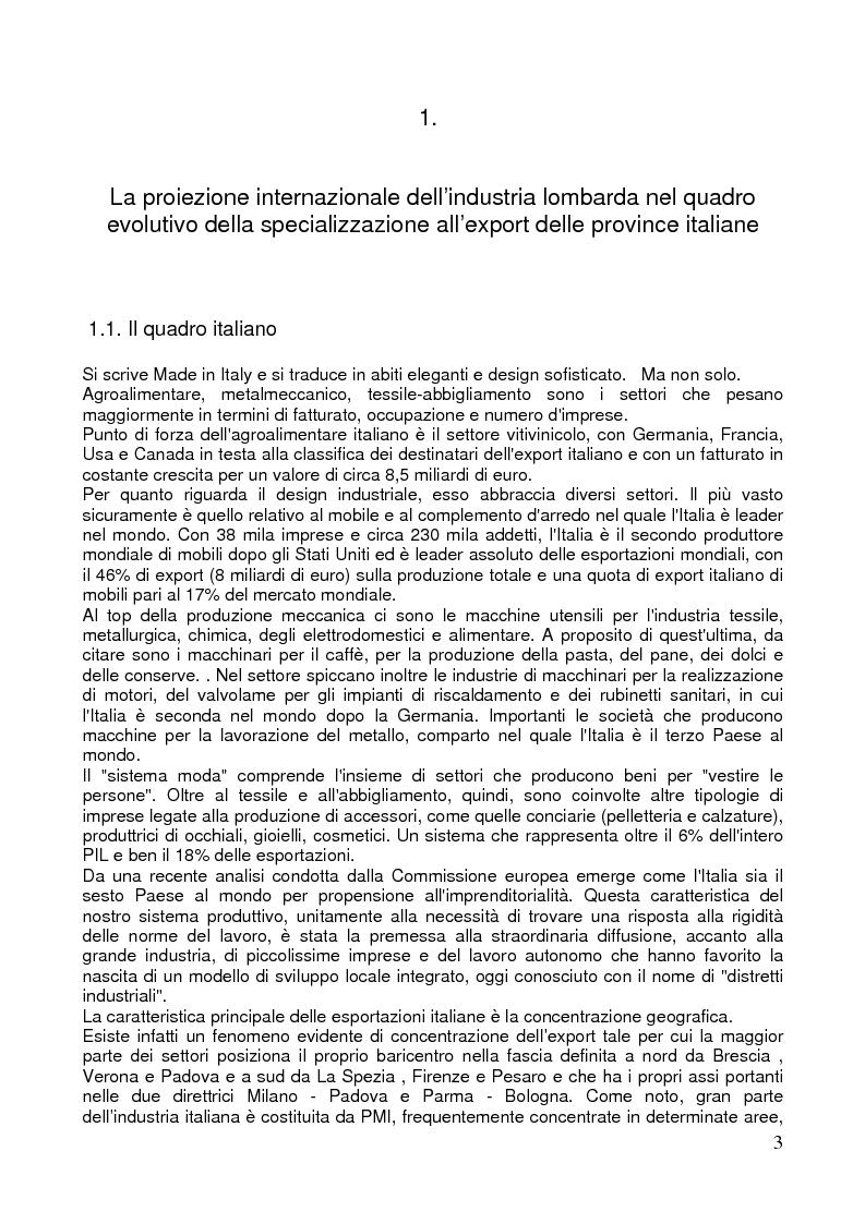 Anteprima della tesi: L'export delle province italiane: l'internazionalizzazione delle imprese lombarde, Pagina 1