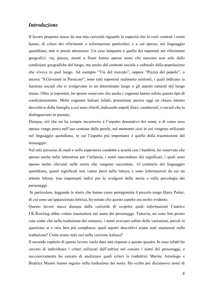 Anteprima della tesi: Il mondo magico del bambino e la traduzione dei nomi in Harry Potter, Pagina 1