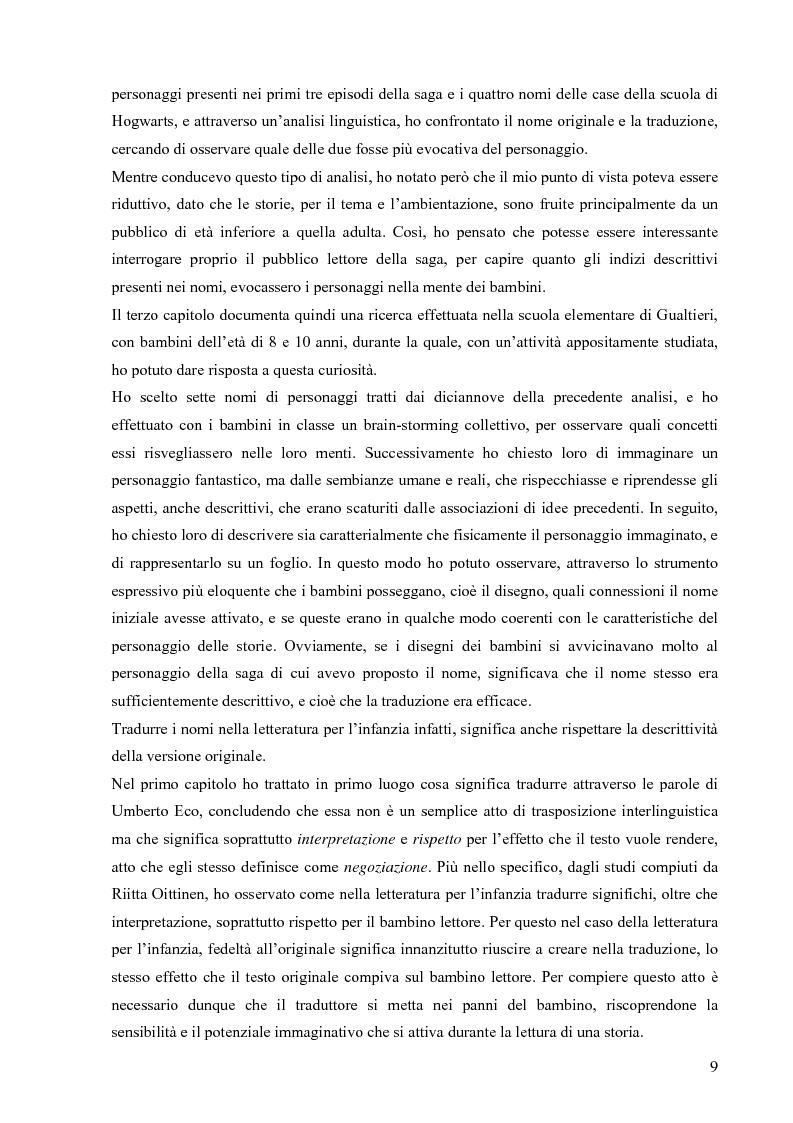 Anteprima della tesi: Il mondo magico del bambino e la traduzione dei nomi in Harry Potter, Pagina 2