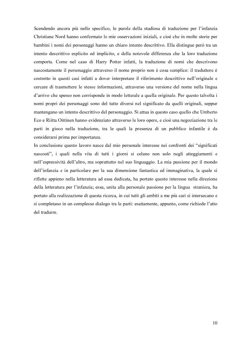 Anteprima della tesi: Il mondo magico del bambino e la traduzione dei nomi in Harry Potter, Pagina 3