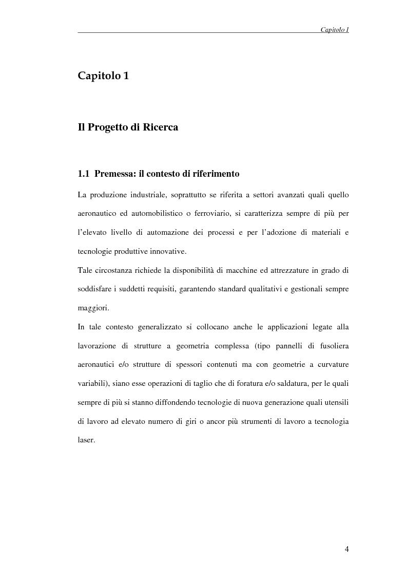 Anteprima della tesi: Progettazione di un attrezzo di posizionamento a controllo automatico per la lavorazione di pannelli aeronautici, Pagina 4