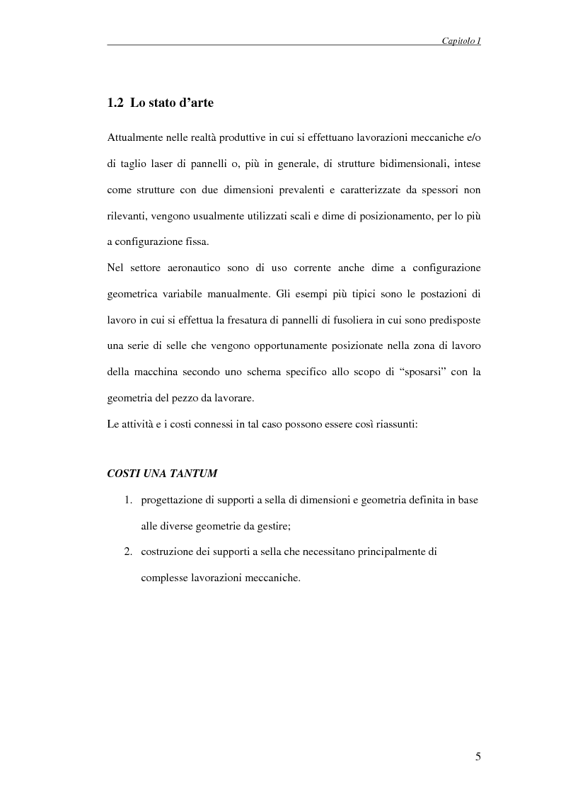 Anteprima della tesi: Progettazione di un attrezzo di posizionamento a controllo automatico per la lavorazione di pannelli aeronautici, Pagina 5