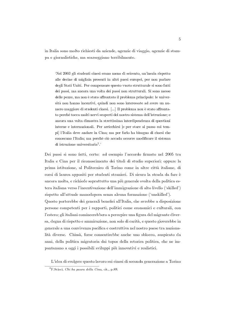 Anteprima della tesi: Cinesi di seconda generazione a Torino, Pagina 2