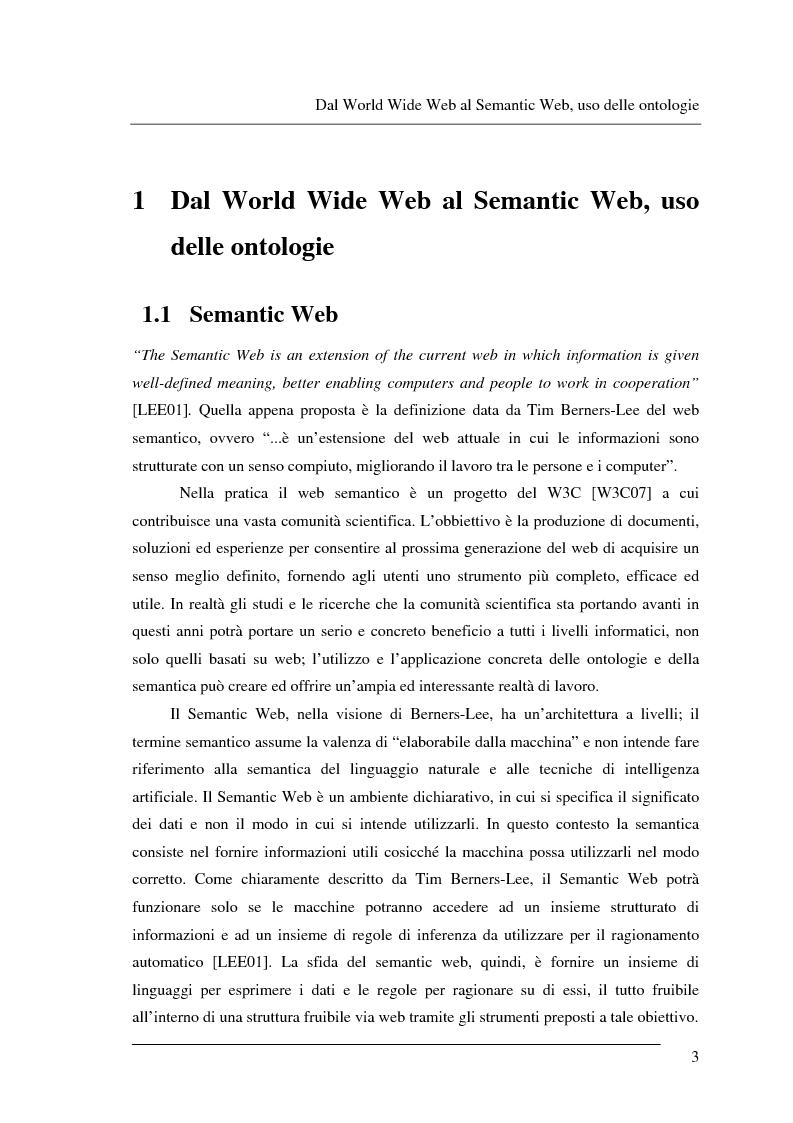 Anteprima della tesi: Progettazione e relizzazione di un'applicazione semantica per il controllo e la gestione di informazioni turistiche: l'aspetto delle ontologie., Pagina 3