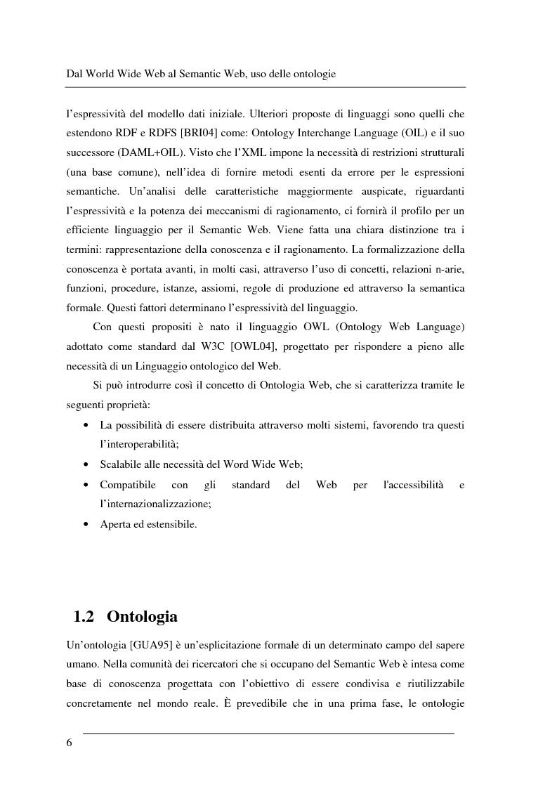 Anteprima della tesi: Progettazione e relizzazione di un'applicazione semantica per il controllo e la gestione di informazioni turistiche: l'aspetto delle ontologie., Pagina 6